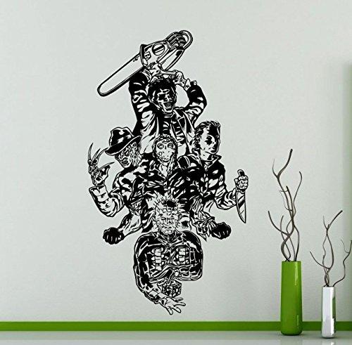 Movie Maniacs Wall Decal Freddy Krueger Jason Voorhees Monster Horror Vinyl Sticker Home Kids Girl Boy Room Interior Art Decoration Any Room Mural Waterproof Vinyl Sticker (312su)