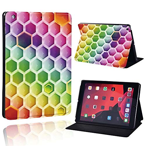 Slim Leather Case For Ap Ipad Mini 1/2/3/4/5/ Ipad 2/3/4 /Air 1/2/3 /Pro Tablet Stand Protective Case+Free Pen (Color : Hexagon, Size : IPad Mini 1 2 3)