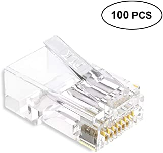 100-Pack Cat6 RJ45 8P8C Modular Connectors Plugs for Ethernet Network Stranded UTP Cable