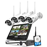 [8CH Expandable] Hiseeu All in one with 10.1' 1080P Monitor Wireless Security Camera System, 8ch Wireless Home Security Camera System,4pcs 2K Indoor/Outdoor Security Camera,Remote View,1TB Hard Drive
