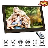 Digitaler Bilderrahmen, Tenswall Full HD(1920 * 1080) 10.1 Zoll Elektronischer Bilderrahmen Full-IPS-Display Foto/Musik/Video/Kalender/Wecker, Unterstützt USB/SD-Karte, Fernbedienung(Holzmaserung)