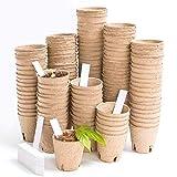 Vumdua 3' Peat Pots with Plant Label, Biodegradable Seed Starter Kit for Vegetables, Herbs, Fruits, Flowers - 100 Pcs Planting Pots & 100 Pcs Plastic Plant Markers