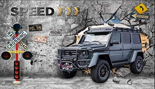 MINCOCO Europäische und amerikanische industrielle Wind-Auto gebrochene Wand-Bar-Kaffeestube-Hintergrund-Tapeten-Reparaturwerkstatt-Dekor-Wandbild-Tapete 3D, 250x175 cm (98.4 by 68.9 in)