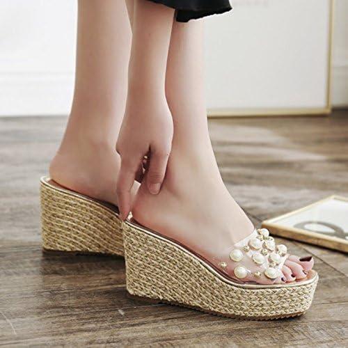 SCLOTHS Tongs Femme Chaussures L'été Perles artificielles Piscine des Pente à Fond épais