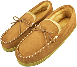 Men's Microsuede Plush Lined Moccasins with Faux Fur Indoor Outdoor Slip On Slippers