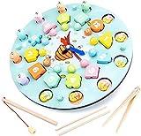 Jilibaba Puzzle Jigsaw-1 Set Reloj de Memoria de Ajedrez de Madera Magnética Juguetes de Pesca de Niños Tempranos Juguete Educativo