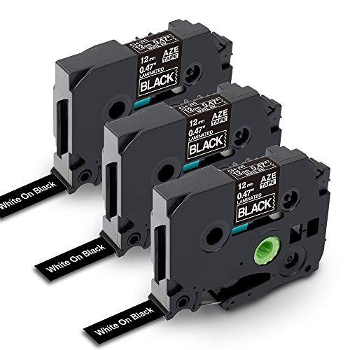 Nastro per Etichette Markurlife Compatibile In sostituzione di Brother TZe-335 TZ 335, TZe Tape 12 mm per Brother P-Touch D400 PT-H100LB PT-H100 PT-D210 PT-1000(3 Pezzi, Nero su Bianco)