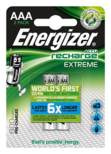 Energizer NimH Extreme Micro Rechargeable Battery 1.2 Volt 800 mAh Pre-Charged Pack of 2