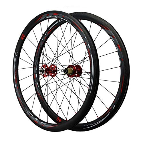 Ciclismo Wheels,Fibra De Carbon 24 Hoyos Liberación Rápida Bicicleta De Carretera Ruedas 700C*23C/25C/28C/32C/35C/38C Llantas Deportes (Color : Red hub, Size : 40mm)