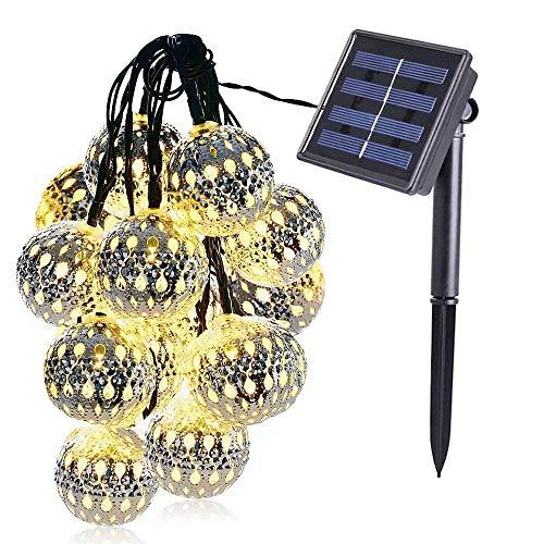 Highill Solar String Lights Moroccan Ball 15ft 20LED Globe Fairy String Lights Sliver Warm white