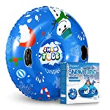 CLISPEED Winter Snow Tube Heavy Duty Inflatable Sled for Kids and Adults
