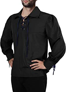 Men's Medieval Pirate Lace Up Stand Collar Wide Cuff Costume Shirt Tops …