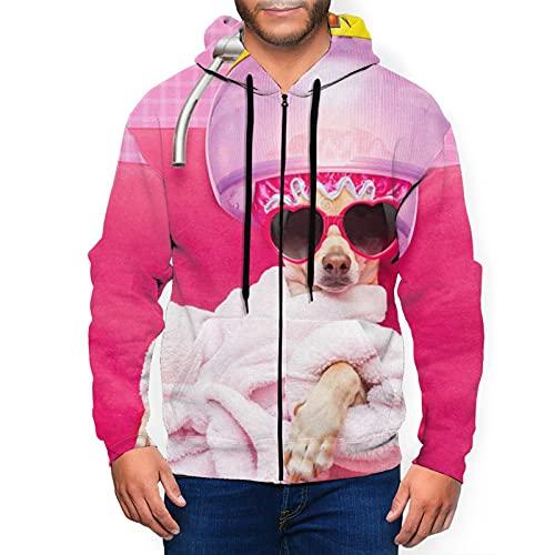 Sudadera con capucha para hombre con cremallera completa con capucha y diseño clásico con capucha, Chihuahua perro relajante tumbado spa cachorro negro, XXXL