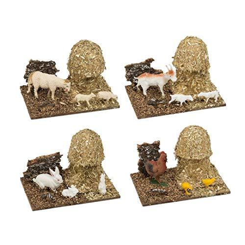 Oliver Art - Pajar con Animales Belén 6.5 x 10.5 x 7.5 cm Modelos Surtidos