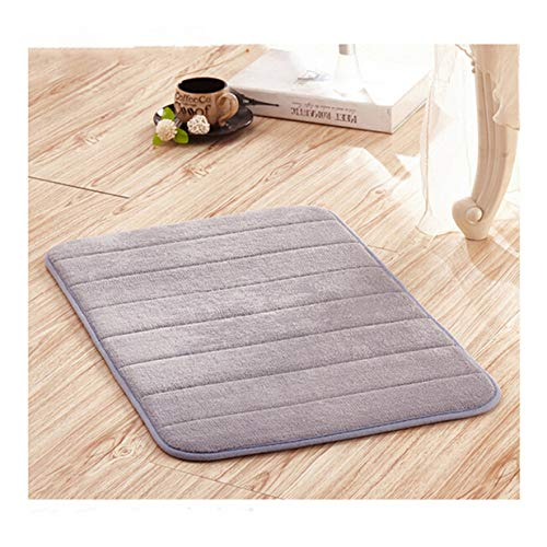 LALANG Memory Foam Soft Comfortable Bathroom Floor Rug Absorbent Non-Slip Sponge Bath Mat Kitchen Stripes Carpet(Light Grey)