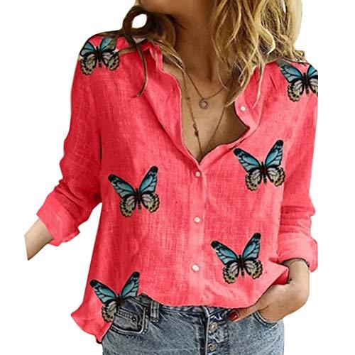 Onsoyours Bluse Damen Elegant Langarm Tunika Sommer Casual Schmetterling Druck Tops Baumwolle Shirts V-Ausschnitt Button Down Lässig Hemd Oberteil C Rot S