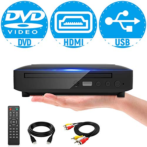 Mini DVD Player, All Region DVD CD/Disc Player for TV with HDMI/AV Output, HDMI/AV Cables Included, HD 1080P Supported Built-in PAL/NTSC System USB Input