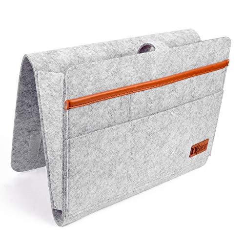 KK|Salecker Betttasche zum Einhängen - Organizer aus Filz - Sofa und Bett Aufbewahrung - praktische Bettablage, Nachttisch - und Aufbewahrungstasche