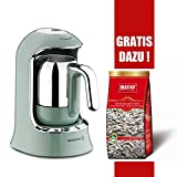 Korkmaz Mokkamaschine Modern Edelstahl türkischer Kaffee Kahvekolik 4-Tassen 400W, Farbe:Türkis
