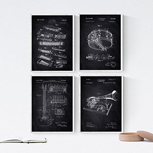 Nacnic Negro - Pack de 4 láminas con Patentes relacionadas con el Blues. Set de Posters con inventos y Patentes Antiguas. Elije el Color Que más te guste. Impreso en Papel de 250 Gramos