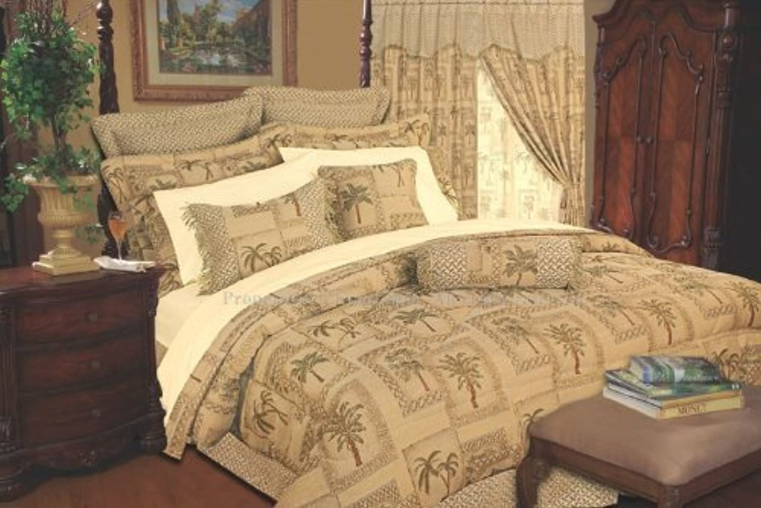 Legacy Decor Tapestry Palm Tree Bedding Comforter Set, Full, 9 Piece