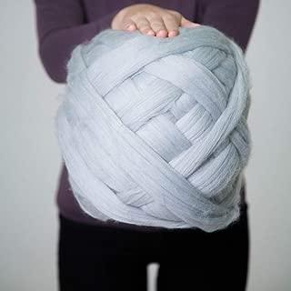 DIRUNEN Merino Wool Yarn Big Chunky Yarn Super Wool Roving Extreme Arm Knitting Giant Chunky Knit Blankets Throws Gray 4.4 lbs