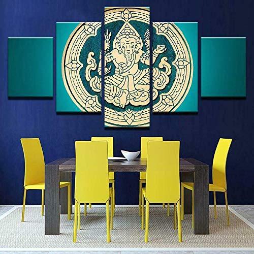 BHJIO Impresiones sobre Lienzo 5 Cuadros En Lienzo Modernos Dormitorios Murales Pared Lona XXL Grande Hogar Cuadros Decora Salón Piezas Talla De Madera De Ganesh