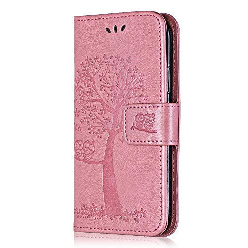 THRION Sony Xperia XZS/XZ Hülle, Geprägt PU Lederhülle Flip Brieftasche Schutzhülle für Sony Xperia XZS/XZ Handyhülle, mit Standfunktion & Kartenfach, Rosa