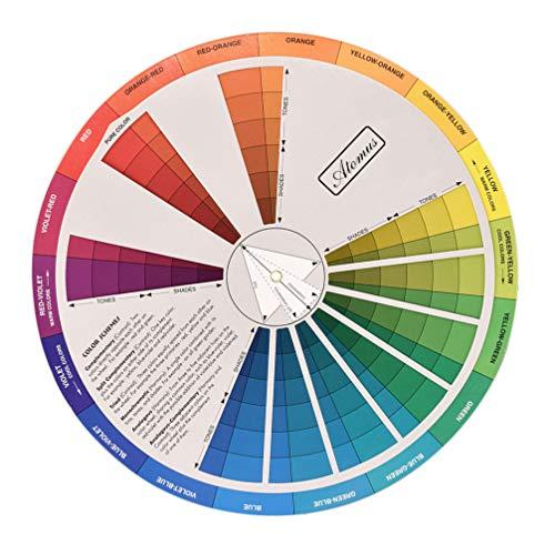 HEALLILY Rueda de Color Portátil Útil Círculo cromático Colores Mezclado Guía de Color de la Herramienta de Aprendizaje de Color de la Tarjeta de Color de la Tabla