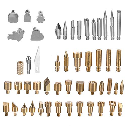 An liang qu you xian mei Pirografia Kit 57Pcs Set di Ferro for Saldatura a Legna Set di Punte in Ottone pirografato for Legno + 2 X Stencil Kit Tool