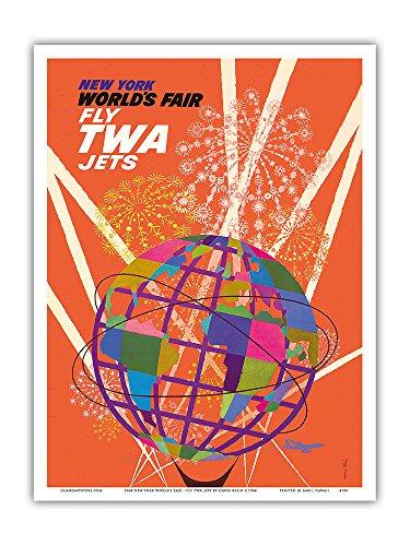 Pacifica Island Art New Yorker Weltausstellung 1964 - Fliegen Sie mit TWA Düsenflugzeugen - Unisphere - Vintage Retro Welt Reise Plakat Poster von David Klein c.1964 - Kunstdruck - 23cm x 31cm