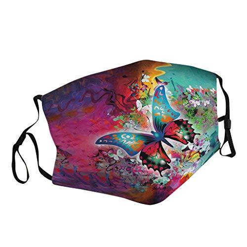 Skang Mode Mundschutz mit 3D Bunt Schmetterlings Druck Gesichtsschutz Mund und Nasenschutz Staubdicht Waschbar Multifunktion Stoff Bandana Outdoor