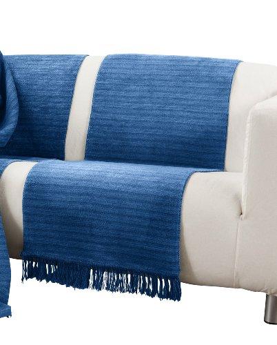 Ibena Sofaläufer Baumwollmischung blau Größe 100x200 cm