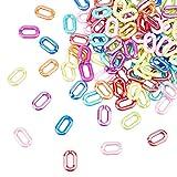 PandaHall 8 Colori Anelli di Collegamento in Acrilico, 160 connettori opachi a Collegamento rapido per la Realizzazione di Catene per Borse di Gioielli, 31x19,5 mm