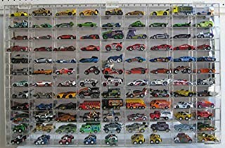 1:64 Scale Toy Cars Wheels Display Case Wall Cabinet Rack 108 Compartment, Clear, UV Protect Hot-AHW64-108
