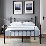 Premium Full Size Bed Frame, VECELO Metal Platform Mattress Foundation / Box Spring Replacement with Headboard Victorian Style