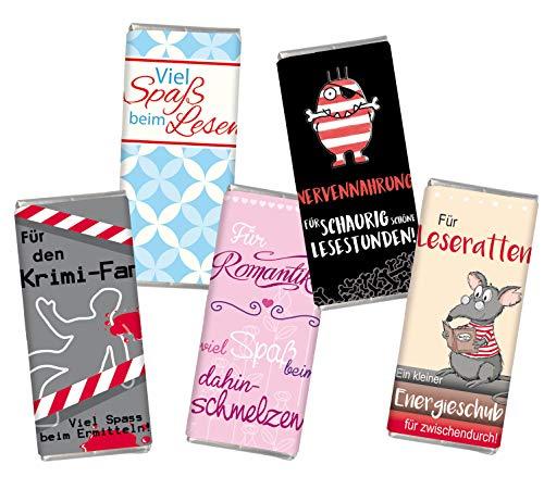 Schokolade Mini Leseratte Lesen STEINBECK Horrorfan Krimifan Romantiker Vollmilch Buch Horror Geschenk Geburtstag Lesestunde
