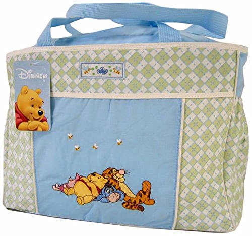 Disney Winnie The Pooh Blue Green Baby Large Tote Diaper Bag