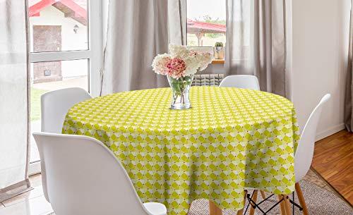 ABAKUHAUS meetkundig Rond Tafelkleed, Ruiten met driehoeken, Decoratie voor Eetkamer Keuken, 150 cm, Yellow Dark Coral