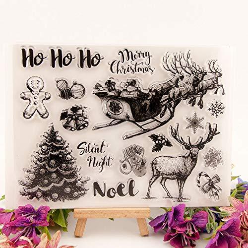 Silent Night Christmas Tree Deer Clear Stamps Scrapbook Paper Craft Stamp Scrapbooking