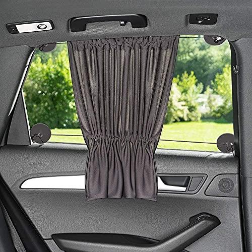ZAMBOO Tendine Parasole Auto Bambini con Funzione di Tendina e Ventose | Protezione UV, Contro Il Calore ed Oscurante | Misure 60 x 50 XXL Anche per finestrini Laterali Grandi | Nero