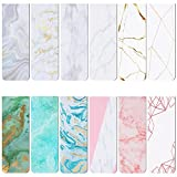 Thenshop 12 Pieces Marble Magnetic Bookmarks Colorful Magnet Page Markers Marble Book Page Clip Marker for Home School Office Student Stationery Reading Accessories, 12 Styles