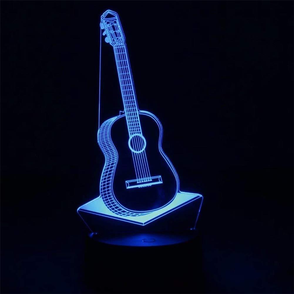 CMmin Guitarra luz Nocturna 3D ilusión de luz LED, 3 Tipos de 7 ...