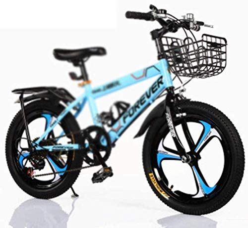Kids Bike Mountain Bike, High Carbon Steel Variable Speed Bicycle, Student Children's Youth 18 inch Bicycle with Basket and Rear Bracket Design 7-4,Single Speed jianyou ( Color : Variable Speed )