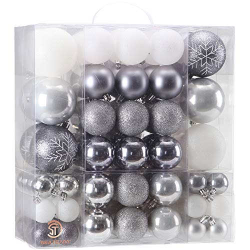 Sea Team 125 Pieces of Assorted Christmas Ball Ornaments Shatterproof Seasonal Decorative Hanging Baubles Set with Reusable Hand-held Gift Package for Holiday Xmas Tree Decorations, Silver