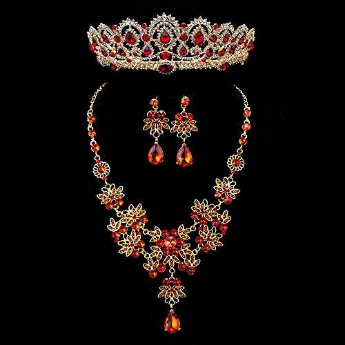 XKMY Juego de joyas para mujer, estilo barroco, vintage, dorado, rojo, cristal, para novia, con diamantes de imitación, corona y pendientes (color metálico: juego de 3 piezas rojo)