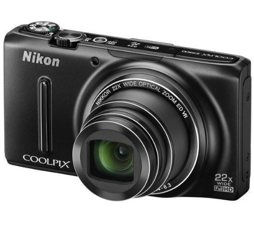 NIKON S9500 - schwarz + Mini-Stativ Pocketpod