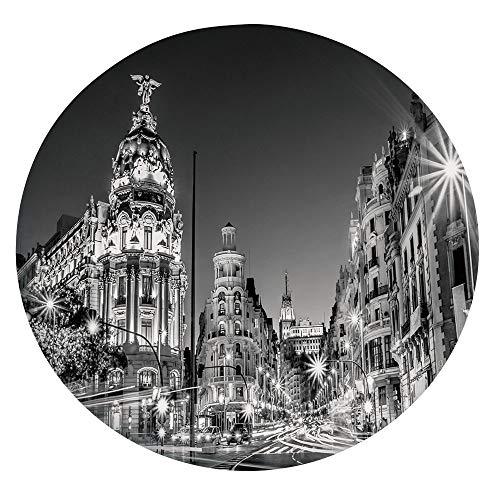 Nappe élastique résistante aux taches, Madrid City Night Espagne Main Street Ancient Architecture, convient aux tables rondes 114-122 cm, pour les événements intérieurs et extérieurs Gris