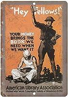 アメリカ図書館協会戦争壁金属ポスターレトロプラーク警告錫サインヴィンテージ鉄絵画装飾オフィスの寝室のリビングルームクラブのための面白いハンギングクラフト