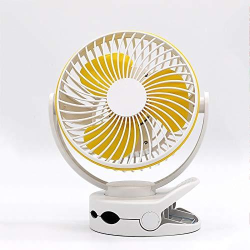 Rindasr Clip-on miniventilator, USB-oplaadbaar, draagbare stille 4-bestanden windsnelheid, 360 ° rotatie, met niveau 2 lampen, kinderwagen voor buitengebruik, bureau-ventilator